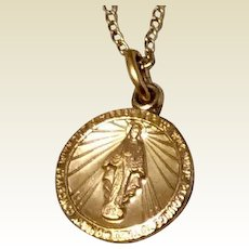 Vintage 14 K Gold Filled Theda Miraculous Medal & Chain