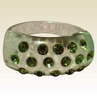 Vintage Lucite Ring With Green Rhinestones
