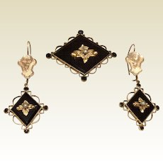 Antique Victorian Gold Filled Black Onyx Seed Pearl Demi Parure Mourning Dangle Earrings & Brooch