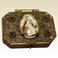 VIntage Gold Tone Metal Catholic Rosary Box
