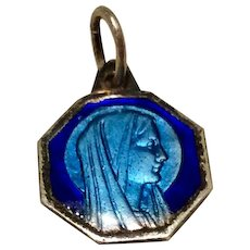Vintage Silver Tone Metal Blue Enamel Virgin Mary Medal