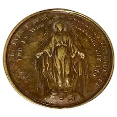Large Bronze Color Virgin Mary Remembrance of The Holy Mission  Medal