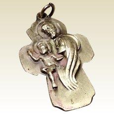 Vintage Creed Silver Tone Metal Jesus Mary & Joseph Medal