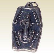 Vintage Silver Tone Metal Medugorje Catholic Medal