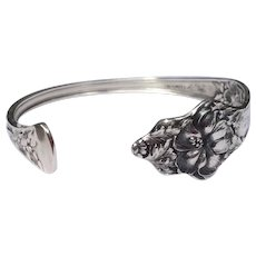 Vintage Upcycled Sterling Silver Baker Manchester Mfg. Co.Spoon Handle Cuff Bracelet