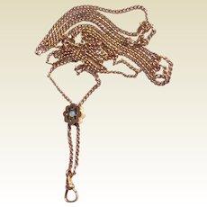 Vintage Estate Gold Filled Long Ladies Watch Chain & Slide