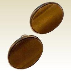 Vintage 12 K Gold Filled Tiger Eye Screw Back Earrings