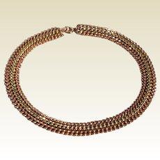 Vintage Tri Color 12 K Gold Filled Collar Necklace