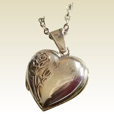 Vintage Sterling Silver Double Photo Heart Rose Locket & Chain