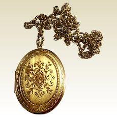 Vintage Gold Tone Large Costume Locket & Chain