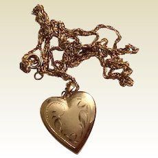 Vintage 14 K Gold Filled Double Photo Locket And Chain
