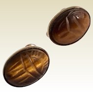 Vintage 1940's Gold Filled Tiger's Eye Carved Scarab Screw Back Earrings