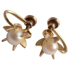 Vintage 12 K Gold Filled Cultured Pearl Screw Back Earrings