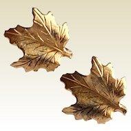 Vintage Silver Gilt Maple Leaf Clip Earrings
