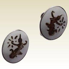 Vintage Sterling Silver White Enamel Siam Lighting Goddess Mekkala Earrings