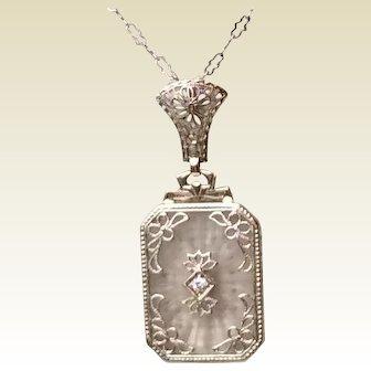 Art Deco 14 K Gold Camphor Glass Diamond Necklace Pendant