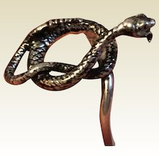 Vintage Upcycled Sterling Silver Rattlesnake Ring