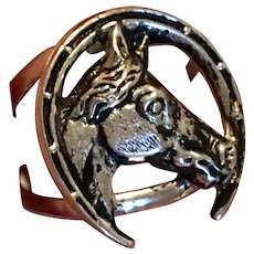 Vintage Upcycled Sterling Silver  Beau Horse Head Horseshoe Ring