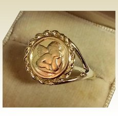 Vintage 14 K Gold Cherub Angel Ring