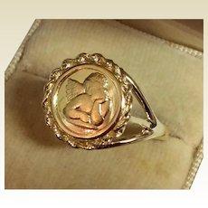 Vintage 14 K Gold Cherub Angel Ring