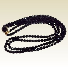 Vintage Double Strand Faceted Black Glass Bead Necklace
