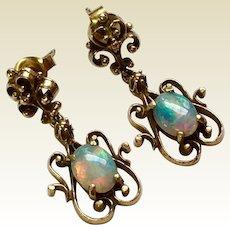 Beautiful Vintage 14 K Gold Siberia Brothers Natural Fiery Opal Dangle  Earrings