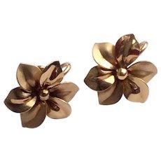 Vintage 12 K Gold Filled Floral Motif Screw Back Earrings