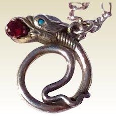 Vintage Sterling Silver Serpent Snake Pendant Necklace