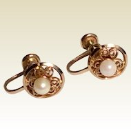 Vintage 12 K Gold Filled Sweet Floral Cultured  Pearl  Screw Back Earrings