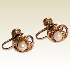 Vintage 12 K Gold Filled Sweet Floral Cultured  Pearl  Screw Back Earrings