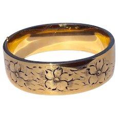 Vintage 12 K Gold Filled Black Tracey Enamel Wide Hinged Bangle Bracelet - Red Tag Sale Item