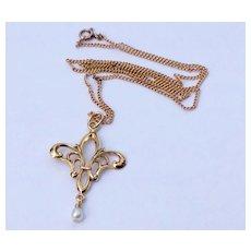 Vintage Gold Filled Fleur D Lis Pendant Necklace