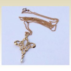 Vintage Gold Filled Fleur D Lis Pendant Necklace