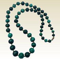 "Vintage 24 "" Malachite Bead Necklace"
