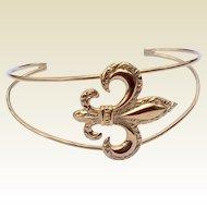 Vintage Fleur D Lis Gold Filled Cuff Bracelet