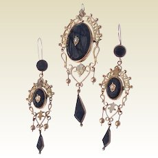 Antique Victorian Gold Filled Black Onyx Seed Pearl Demi Parure Dangle Earrings & Brooch Pendant