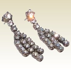 Vintage Silver Tone Metal Clear Rhinestone Dangle  Earrings