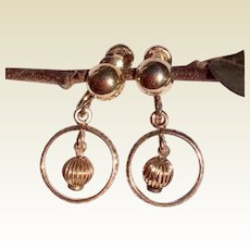 Vintage 12 K Gold Filled Miniature Wedding Ring Screw Back Earrings