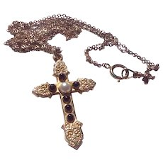 Antique Victorian Gold Filled Chased Large Cross Pendant & Double Chain