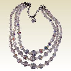 Vintage 3 Strand Clear A B Crystal Necklace