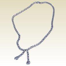 Vintage Silver Tone Metal Clear Sparkling Rhinestone Necklace