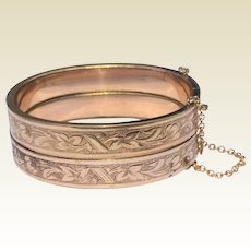 Antique Victorian Pair Gold Filled Wedding  Brides Bangle Bracelets