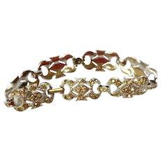 Art Deco Rhodium Plated Clear Paste Flexible Link Bracelet