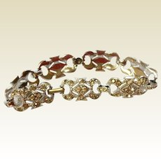 Art Deco Rhodium Plated Clear Paste Flexible Link Bracelet