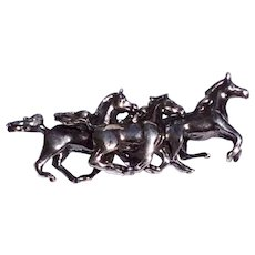 Vintage Sterling Silver Racing Horses Brooch