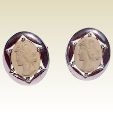 Wonderful Vintage Pair Lava Cameo Sterling Silver Cuff Links