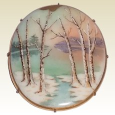 Antique Victorian Hand Painted Oval Porcelain Brooch