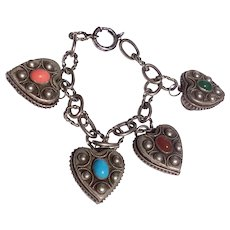 Italian 800 Silver Ornate Heart Charm Bracelet