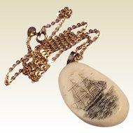 Vintage 14 K Gold Scrimshaw Pendant Necklace