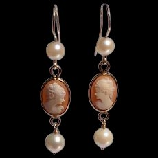 Vintage Upcycled Gold Filled Cameo Pearl Dangle Earrings